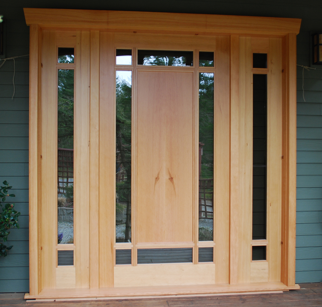 Custom wood doors saratoga woodworks craftsman style for Custom design windows