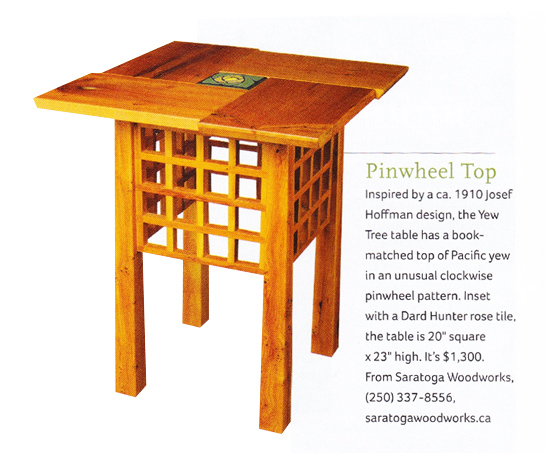 Saratoga Woodworks Tea Table in Arts and Crafts Homes Magazine
